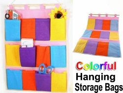 colorful hanging storage bags