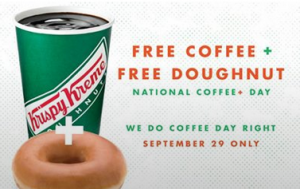 kk free coffee donut