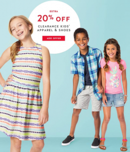 20 off kids clearance